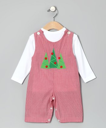 White Tee & Red Tree Overalls - Infant & Toddler