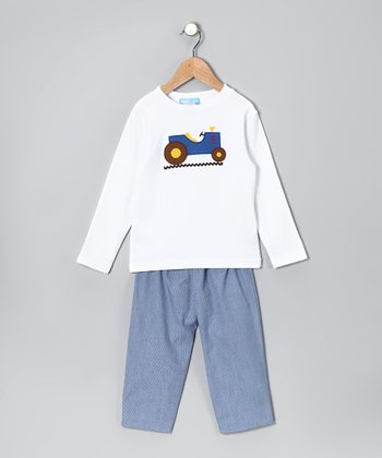 White Truck Tee & Blue Pants - Infant