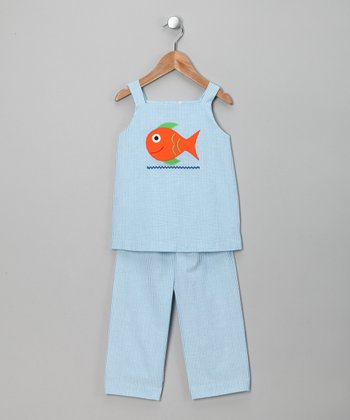 Turquoise Fish Appliqué Top & Pants - Infant, Toddler & Girls