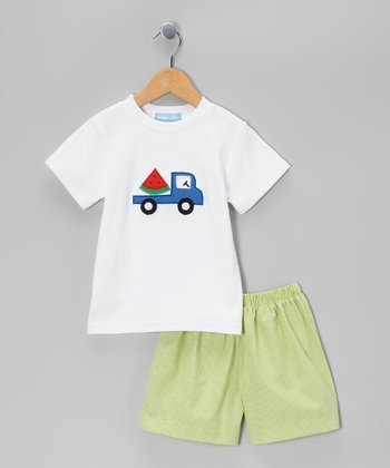 White Truck Tee & Green Gingham Shorts - Infant