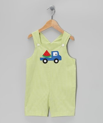Green Watermelon Truck Shortalls - Infant & Toddler