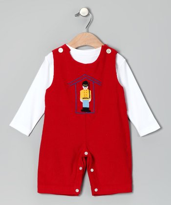 White Tee & Red Guard Corduroy Overalls - Toddler
