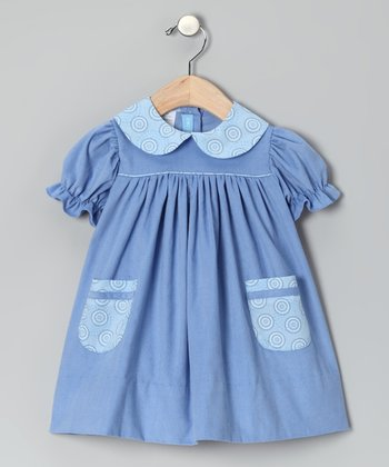 French Blue Corduroy Puff-Sleeve Dress - Toddler