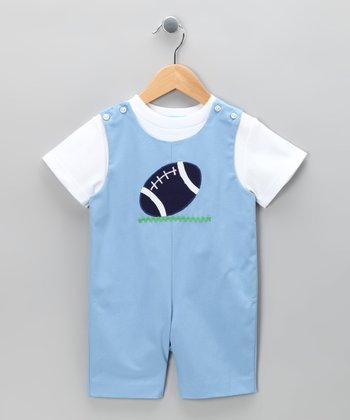 White Tee & Blue Football Shortalls - Toddler