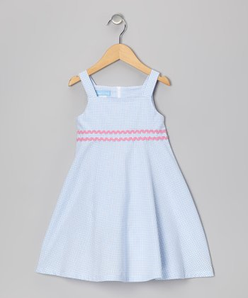Blue Gingham A-Line Dress - Toddler & Girls