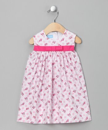 Pink Butterfly Bow Babydoll Dress - Infant & Toddler