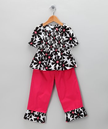 Black & Pink Floral Top & Pants - Toddler & Girls