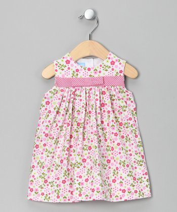 Pink & Green Floral Bow Babydoll Dress - Infant