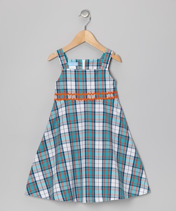 Blue Plaid A-Line Dress - Toddler & Girls