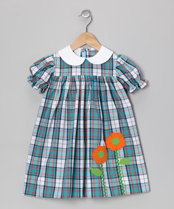Blue Plaid Flower Babydoll Dress - Girls
