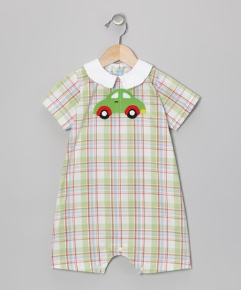 Green Plaid Car Bubble Romper - Infant