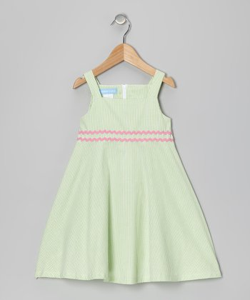Lime Stripe A-Line Dress - Toddler & Girls