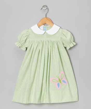Green Butterfly Babydoll Dress - Girls