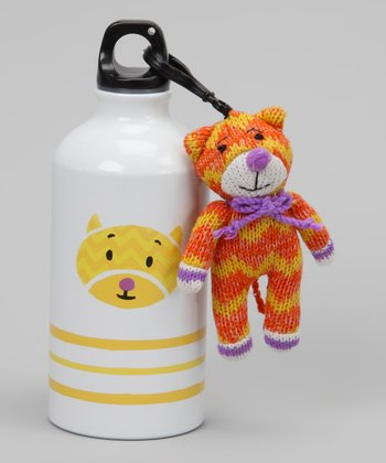 White & Yellow Cat Water Bottle & Plush Clip
