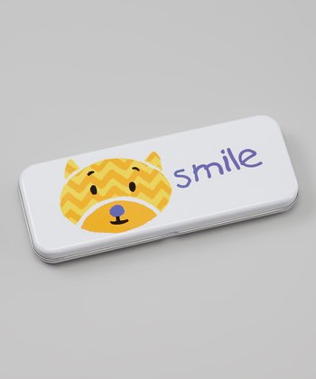White & Yellow 'Smile' Cat Pencil Box