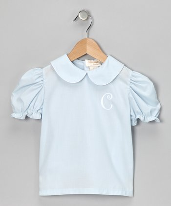 Blue & White Initial Blouse - Infant, Toddler & Girls