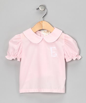 Pink & White Initial Blouse - Girls