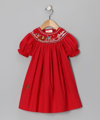 Red Three Kings Monogram Bishop Dress - Infant & Toddler