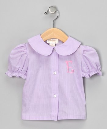 Purple & Pink Initial Blouse - Infant, Toddler & Girls