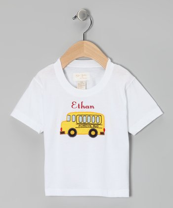 White School Bus Personalized Tee - Infant & Toddler