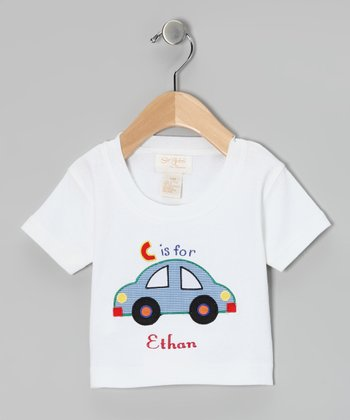 White 'C is for' Car Personalized Tee - Infant & Toddler