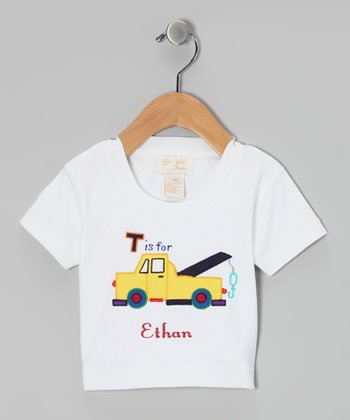 White 'T is for' Truck Personalized Tee - Infant & Toddler