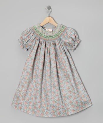 Blue Floral Kayla Monogram Bishop Dress - Toddler & Girls