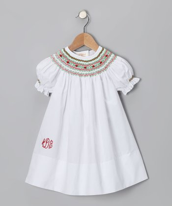 White & Red Monogram Bishop Dress - Infant, Toddler & Girls