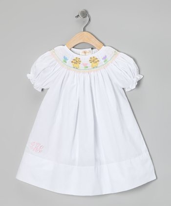 White Lively Lion Monogram Bishop Dress - Infant