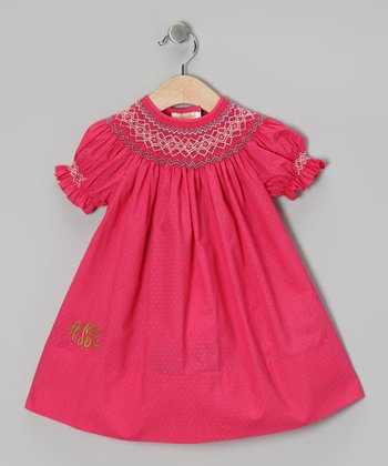 Fuchsia Polka Dot Monogram Bishop Dress - Infant & Toddler