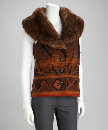 Montanaco Brown Native Faux Fur Vest