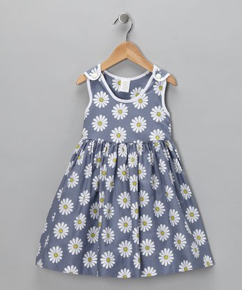 Gray Daisy Dress - Girls
