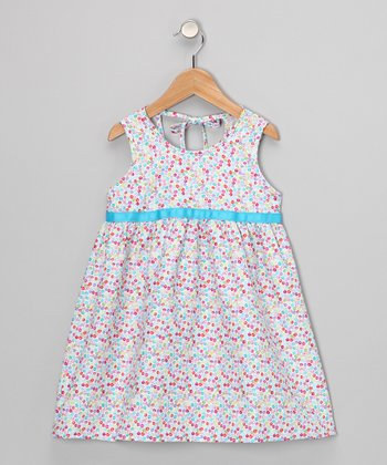 Pink & Blue Peace Sign Dress - Toddler