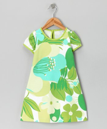 Green & Turquoise Cap-Sleeve Dress - Toddler