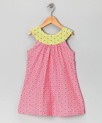 Pink & Yellow Yoke Dress - Toddler & Girls