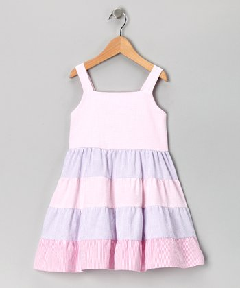 Pink & Purple Tiered Babydoll Dress - Toddler & Girls