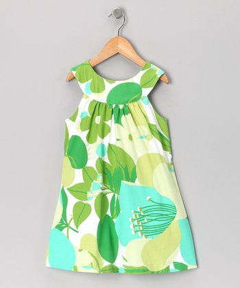 Green & Turquoise Yoke Dress - Toddler & Girls