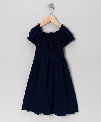 Navy Peasant Dress - Toddler & Girls