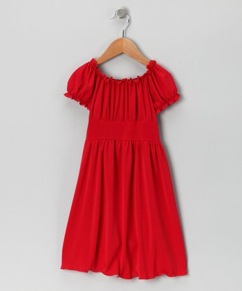 Red Peasant Dress - Toddler
