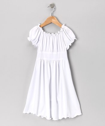 White Peasant Dress - Toddler