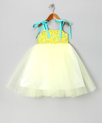 Yellow & Turquoise Tutu Dress - Toddler
