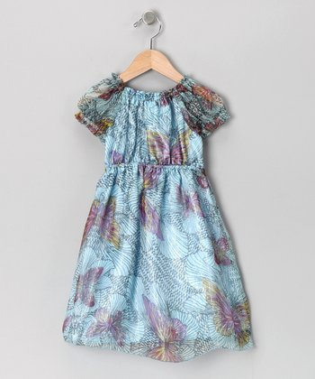Blue Silk Puff-Sleeve Dress - Toddler