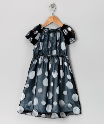 Black & Gray Polka Dot Silk Puff-Sleeve Dress - Toddler