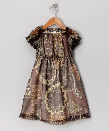 Brown Flower Silk Puff-Sleeve Dress - Toddler & Girls