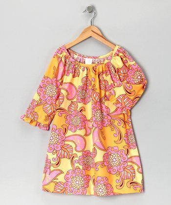Tangerine Long-Sleeve Peasant Dress - Toddler & Girls