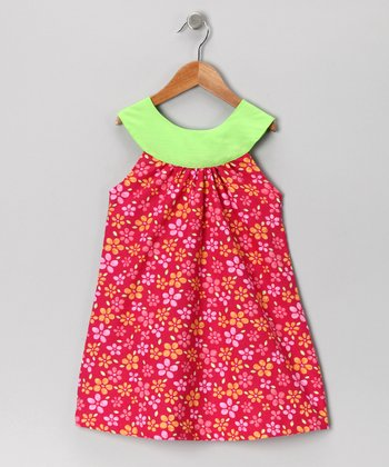 Pink & Green Yoke Dress - Toddler & Girls