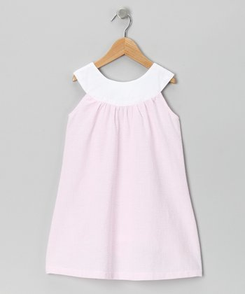 Light Pink & White Yoke Dress - Toddler