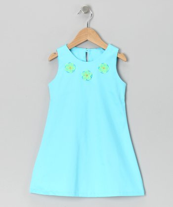 Turquoise Flower Dress - Toddler