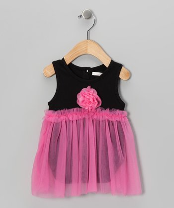 Mooncakes Black & Pink Floral Skirted Bodysuit - Infant