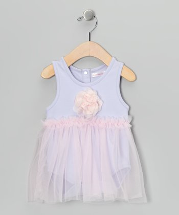 Mooncakes Lavender & Pink Floral Skirted Bodysuit - Infant